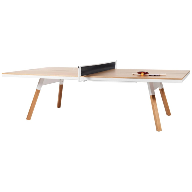 You & Me Wooden Top Standard Ping Pong Table in Oak and White by RS Barcelona