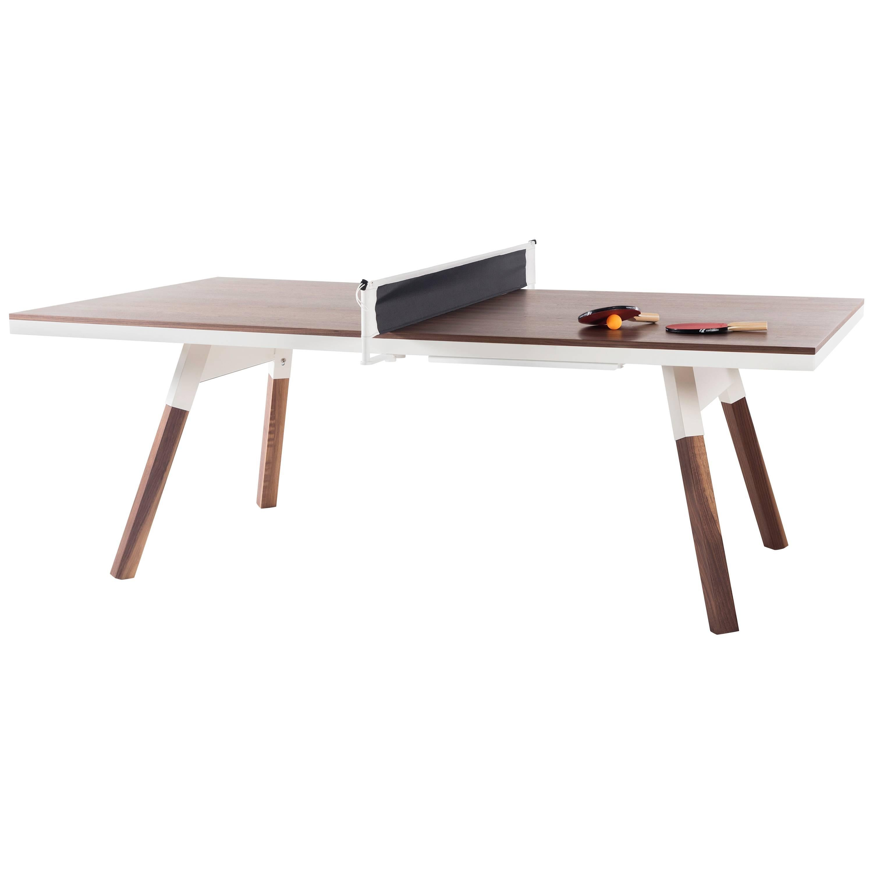 You & Me Wooden Top 220 Ping Pong Table in Walnut and White by RS Barcelona