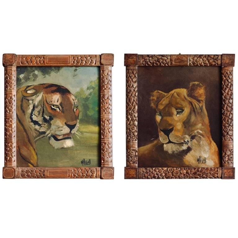 Pair of Tiger and Lion Art Deco Framed Paintings