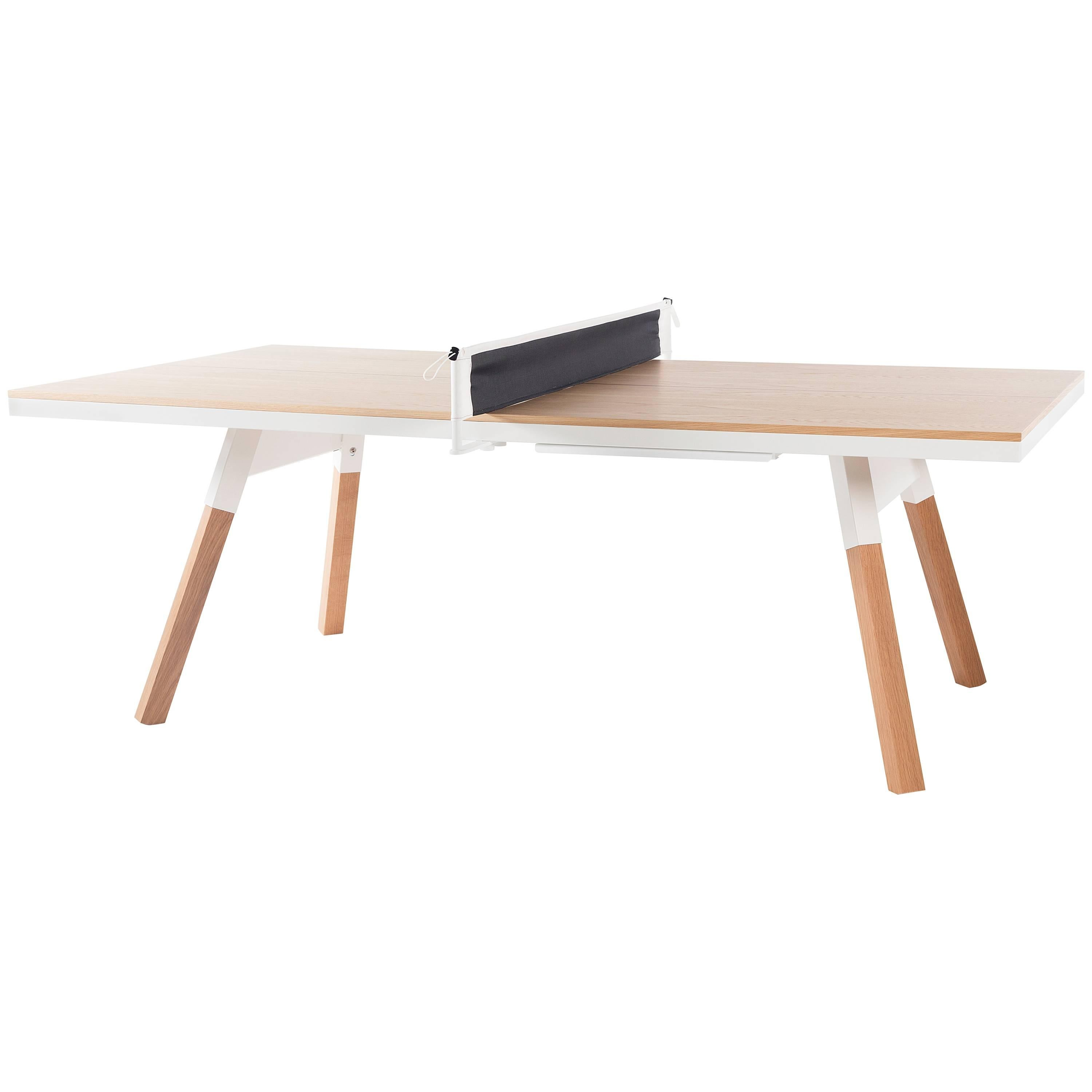 You & Me Wooden Top 220 Ping Pong Table in Oak and White by RS Barcelona