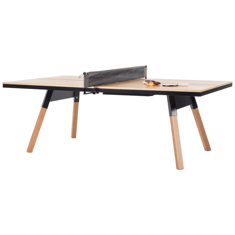 You & Me Wooden Top 220 Ping Pong Table in Oak and Black by RS Barcelona For Sale