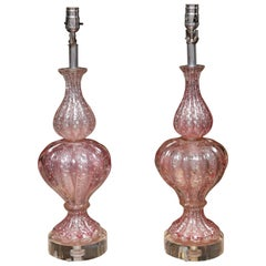 Pair of Midcentury Barovier & Toso Lamps