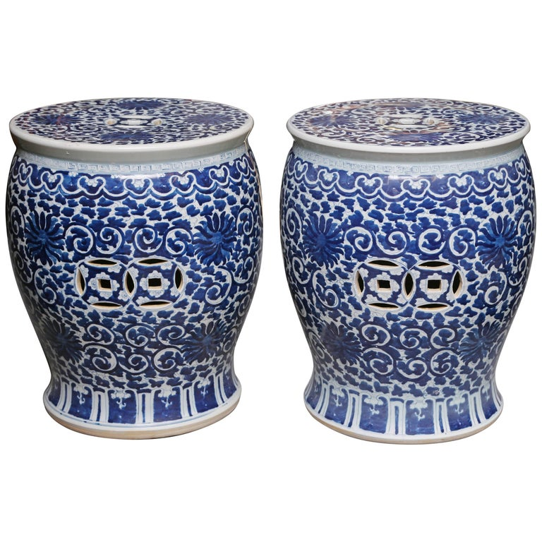 Superb Pair of Blue and White Cantonese Garden Seats For Sale