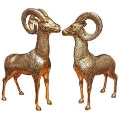 Pair of Midcentury Brass Figures of Rams