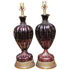 Pair of Rare Midcentury Murano Amethyst Lamps