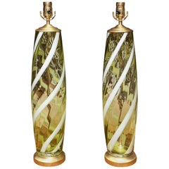 "Pair of Midcentury ""Apple Green"" Murano Table Lamps"