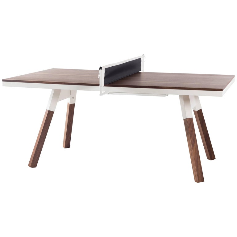 You & Me Wooden Top 180 Ping Pong Table in Walnut and White by RS Barcelona For Sale
