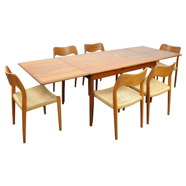 Danish Modern Teak Dining Set with Six Moller Model #71 Chairs