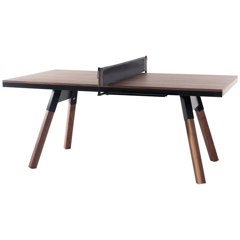 You & Me Wooden Top 180 Ping Pong Table in Walnut and Black by RS Barcelona For Sale