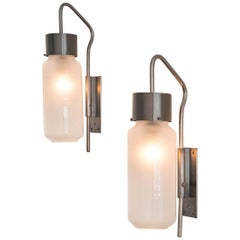 Luigi Caccia Dominioni, LP10 Wall Lamps / Sconces, Steel, Frosted Glass, 1958