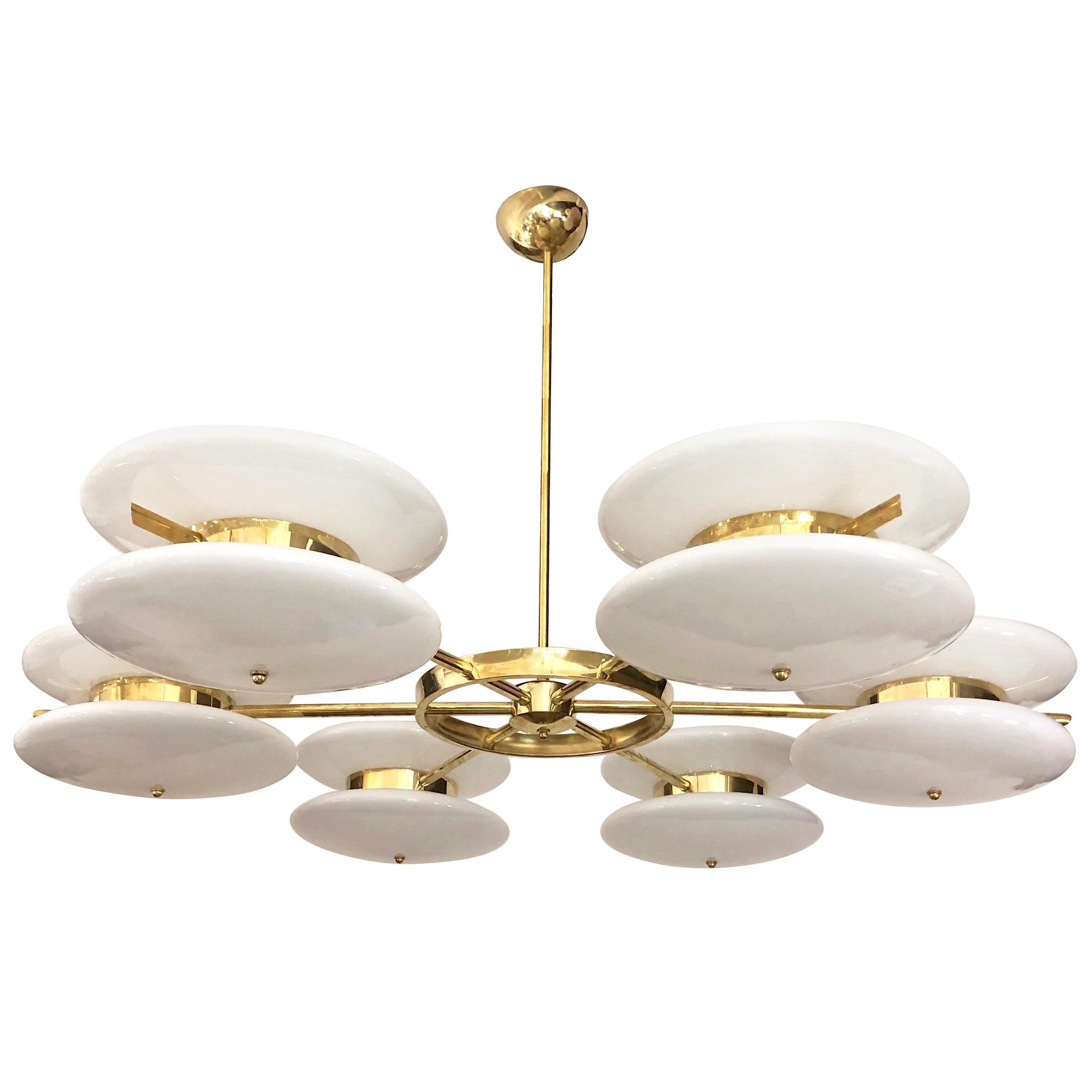 Italian Minimalist Contemporary White Murano Glass and Brass Chandelier