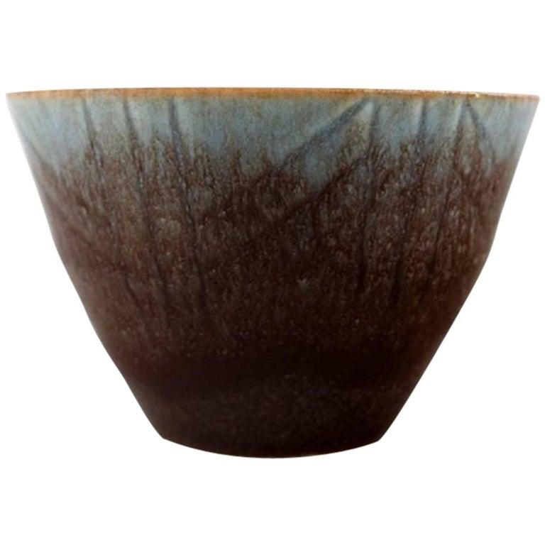 Carl Harry Stålhane, Rörstrand Stoneware Bowl, Beautiful Glaze For Sale