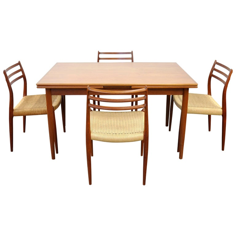 Danish Modern Teak Dining Set with Four Moller Model #78 Chairs