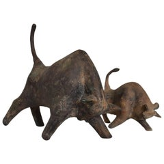Pair of Mid-Century Modern Bull Table Sculptures, Iron, Japan