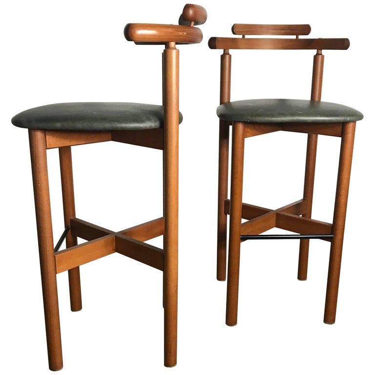Pair of Danish Bar or Counter Stools, Teak and Leather by Gangso Mobler
