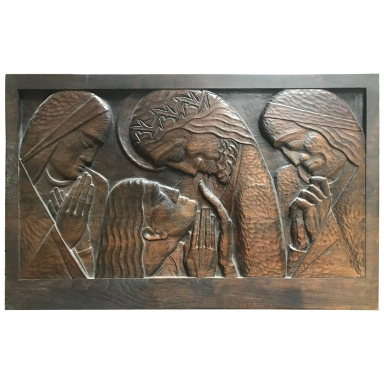 Art Deco, W.P.A Era Carved Black Walnut Wall Plaque by William Ehrich circa 1934