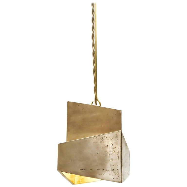 Decade Solid Cast Bronze Raw Polished Pendant Indoor/Outdoor Square Lantern