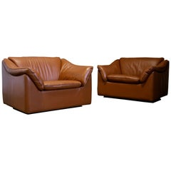 Pair of Leather Lounge Chairs by Metropolitan