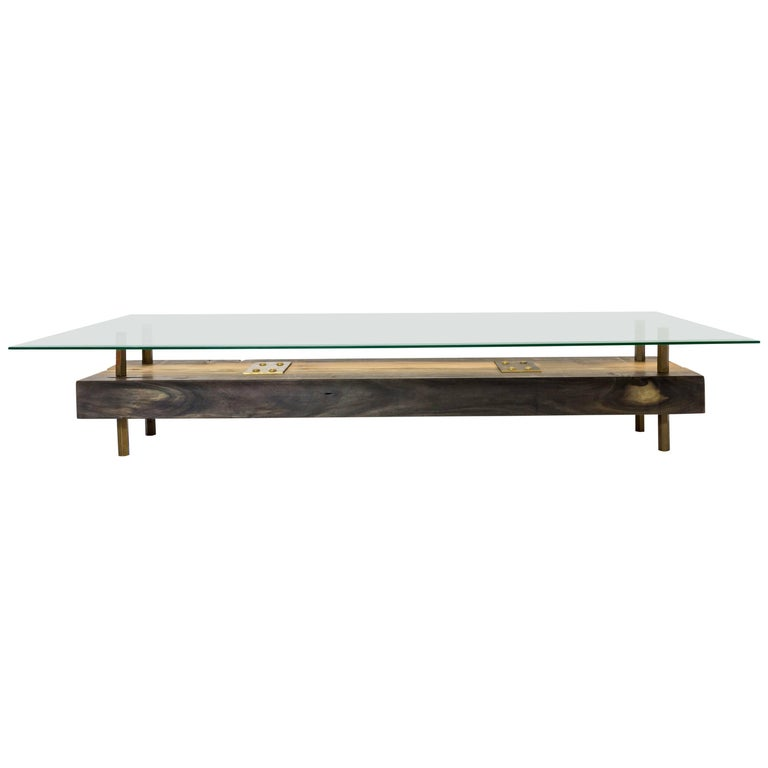 Rectangular Connection of Mahoe Wood, Brass Legs & Glass Cocktail, Coffee Table