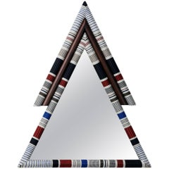 Pontiac Mirror Upholstered Triangle Shaped Mirror in Kvadrat Fabric