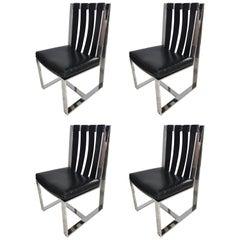 Set of Four Milo Baughman for Thayer Coggin Midcentury Chrome & Leather Chairs