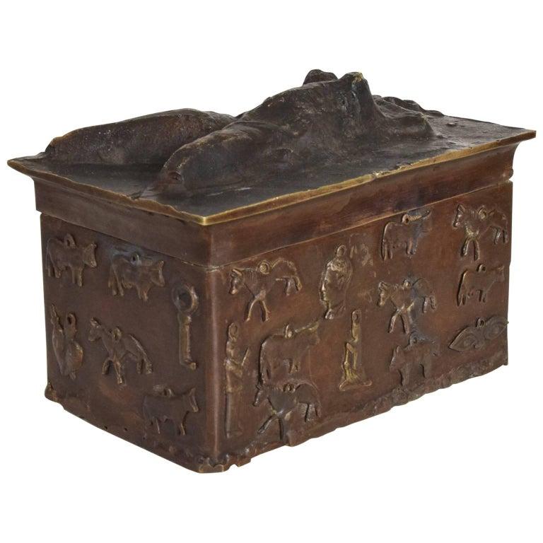 "Bronze Decorative Box Signed ""Toledo"""