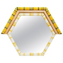 Pontiac Mirror Upholstered Hexagon Shaped Mirror in Kvadrat Fabric