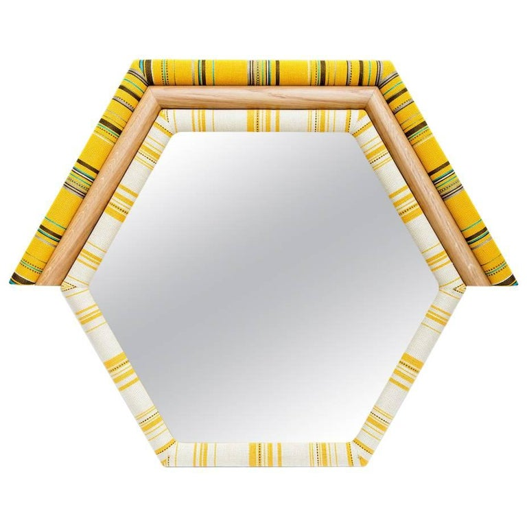 Pontiac Mirror Upholstered Hexagon Shaped In Kvadrat Fabric