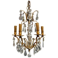 Beautiful Small French 1920s Crystal Chandelier