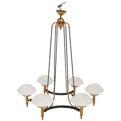 Mid-Century Modern Italian Chandelier Six Arms Glass Shades Stilnovo Era