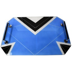 Art Deco Blue Glass Geometric Drinks Tray