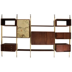 Monumental Mexican Modernist Wall Unit in Solid Mahogany and Goatskin