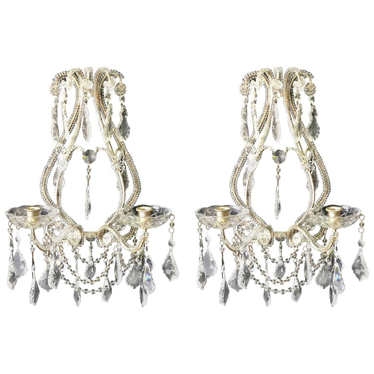 Pair of Venetian Beaded Crystal Candle Sconces