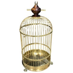 Regency Style Brass and Mahogany Bird Cage