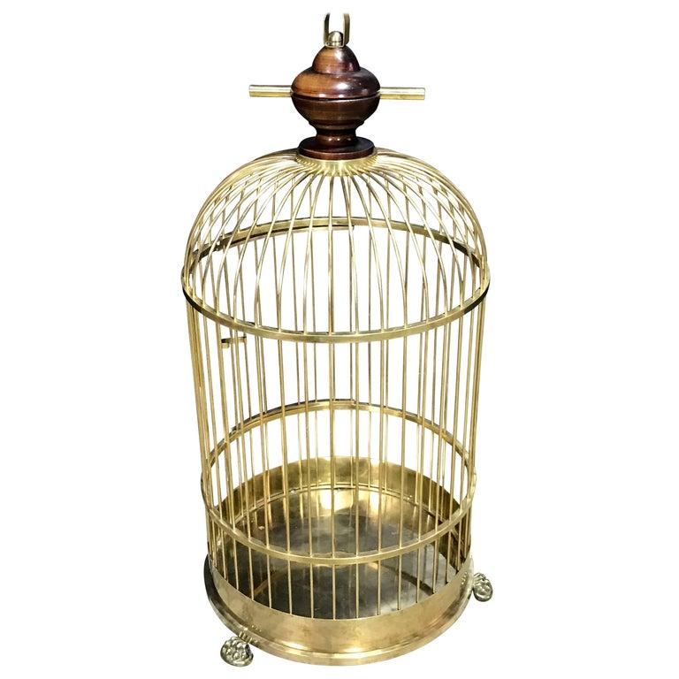 Regency Style Brass and Mahogany Bird Cage