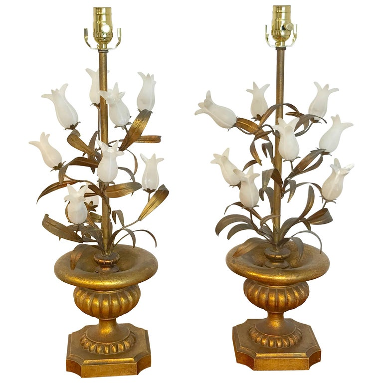 Pair of Italian Tulip Topiary Lamps