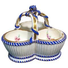Sèvres Triple Salt, Basket Form with Flowers, circa 1775