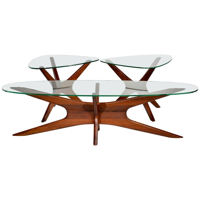 """Set of Walnut """"Jacks"""" Tables by Adrian Pearsall"""