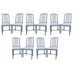 Ten Regency Style Gray Painted Faux Bamboo Dining Chairs