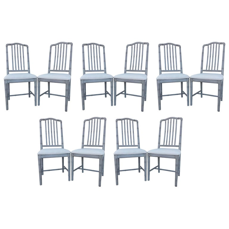 Ten Regency Style Gray Painted Faux Bamboo Dining Chairs For