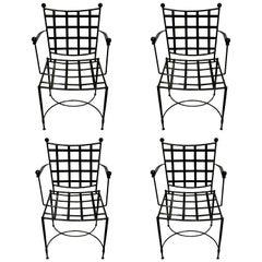 Four Salterini Woven Wrought Iron Armchairs