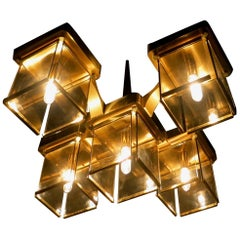 Five-Light Brass and Smoked Glass Ceiling Fixture by Sciolari, Italy, 1960s