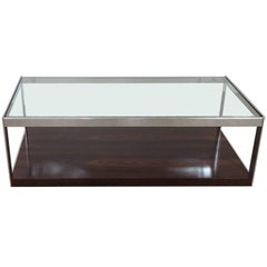 Midcentury Rosewood Chrome and Glass Table by Merrow Associates