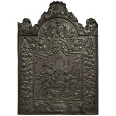 Huge Antique Fireback, Annunciation to the Blessed Virgin Mary