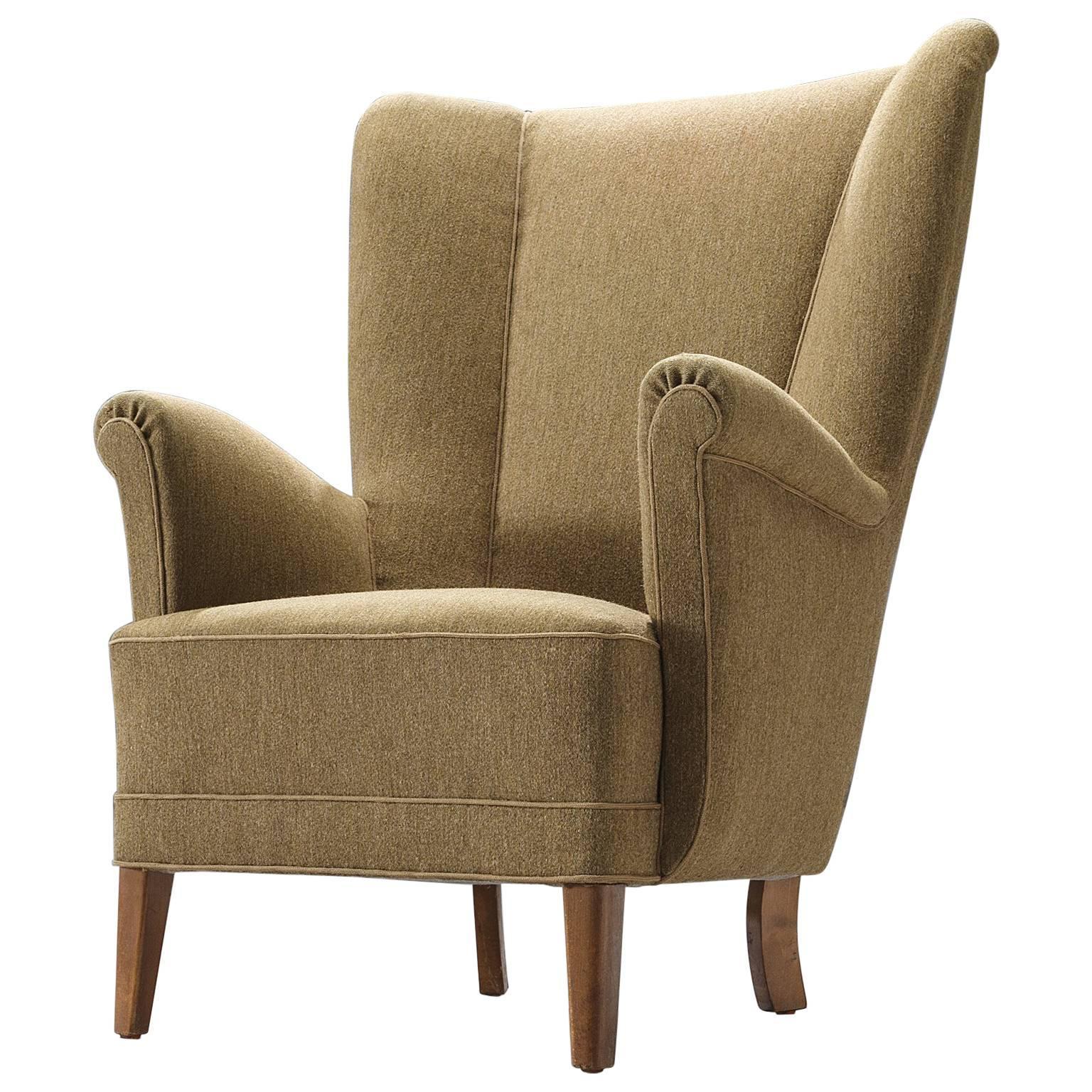 Wingback Chair in Original Woollen Upholstery