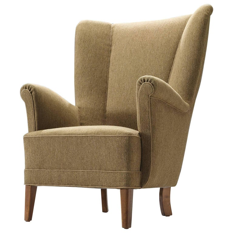 Wingback Chair in Original Woollen Upholstery