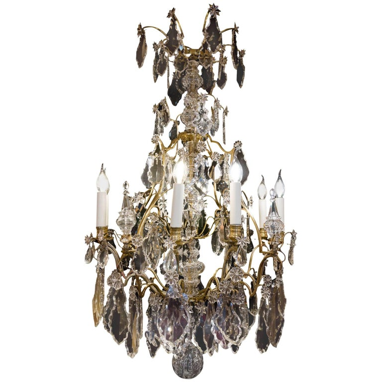 Cristalleries De Baccarat French Louis XV Style Ormolu & Crystal Chandelier 1850