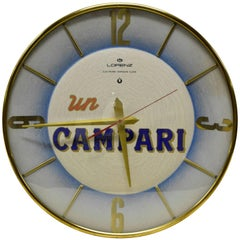 1960s Rare Un Campari Logo Advertising Clock Made by Italian Watchmaker Lorenz