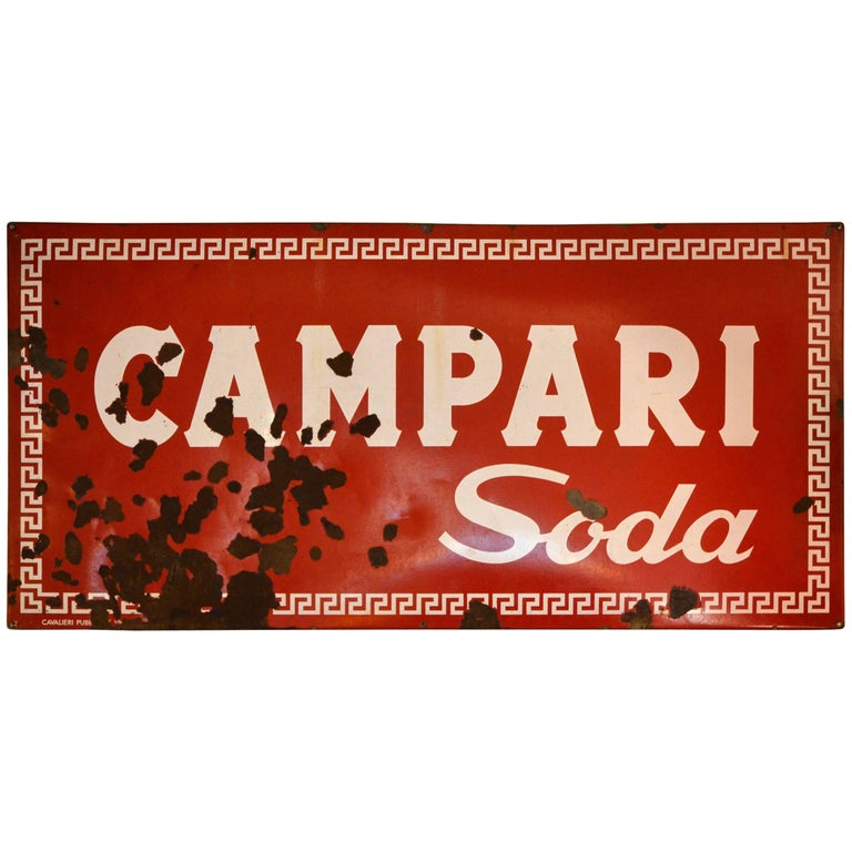 1960s Red Enamel Metal Vintage Italian Campari Soda Sign