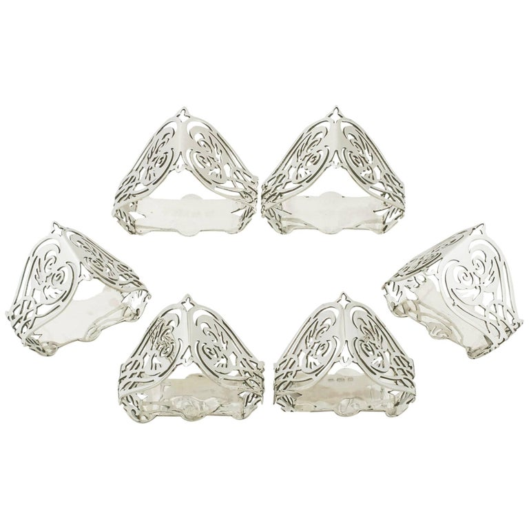 1902 Antique Sterling Silver Napkin Rings Set of Six by William Aitken
